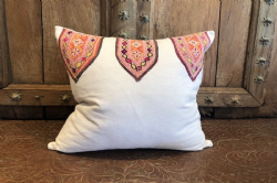 Vintage Indian Textile Cushion Made From French Linen (One of a Pair)